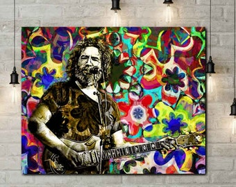 Jerry Garcia Canvas, The Grateful Dead Art, Hippie Canvas, Jerry Garcia Art, Grateful Dead Art, Deadhead, Hippie Painting, Original Garcia