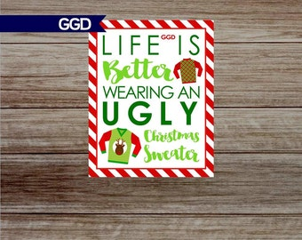 INSTANT DOWNLOAD Ugly Christmas Sweater Party Printable Sign, ugly christmas sweater party decor, ugly sweater, christmas party decor