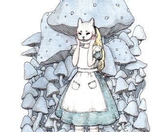 "The Cheshire Cat's Mask - 5x7"" Print Alice in Wonderland"