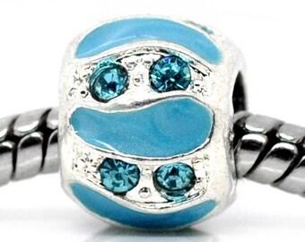 Blue Pearl rhinestone enamel