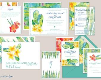 Hawaii Wedding Invitations - Tropical - Aloha - Destination Wedding - Beach Wedding - Hawaiian Wedding - Botanical Invitations - Hibiscus