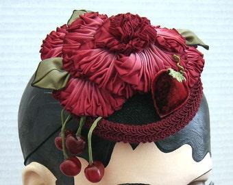 Strawberry Cherry Ribbon Flower Fascinator Headpiece On Sale