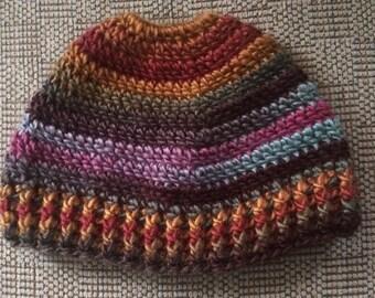 Messy Bun Hat, Pony Tail Hat, Crochet Adult hat, Man Bun Hat, Ski Hat ,Hat with Hole, Winter Hat, Messy Hair day, Jogging, Messy Bun Beanie