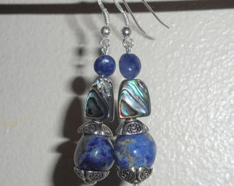 """Spray"" - sodalite, abalone, blue aventurine earrings, 925 Silver - Al ""oceania""."