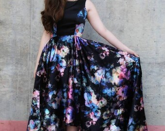 Floral Satin Gown - one of a kind