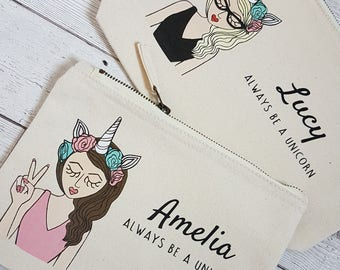 Personalised Christmas gift - Personalised Makeup Bag - Personalized Zipper Pouch - Unicorn gift - Unicorn Quote - Stocking Filler