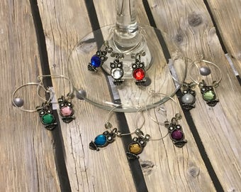 Set of owl wine charms