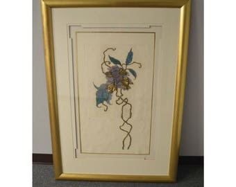 Unusual Limited Edition Raised Floral Sculpture Matted in a Gold Finished Frame