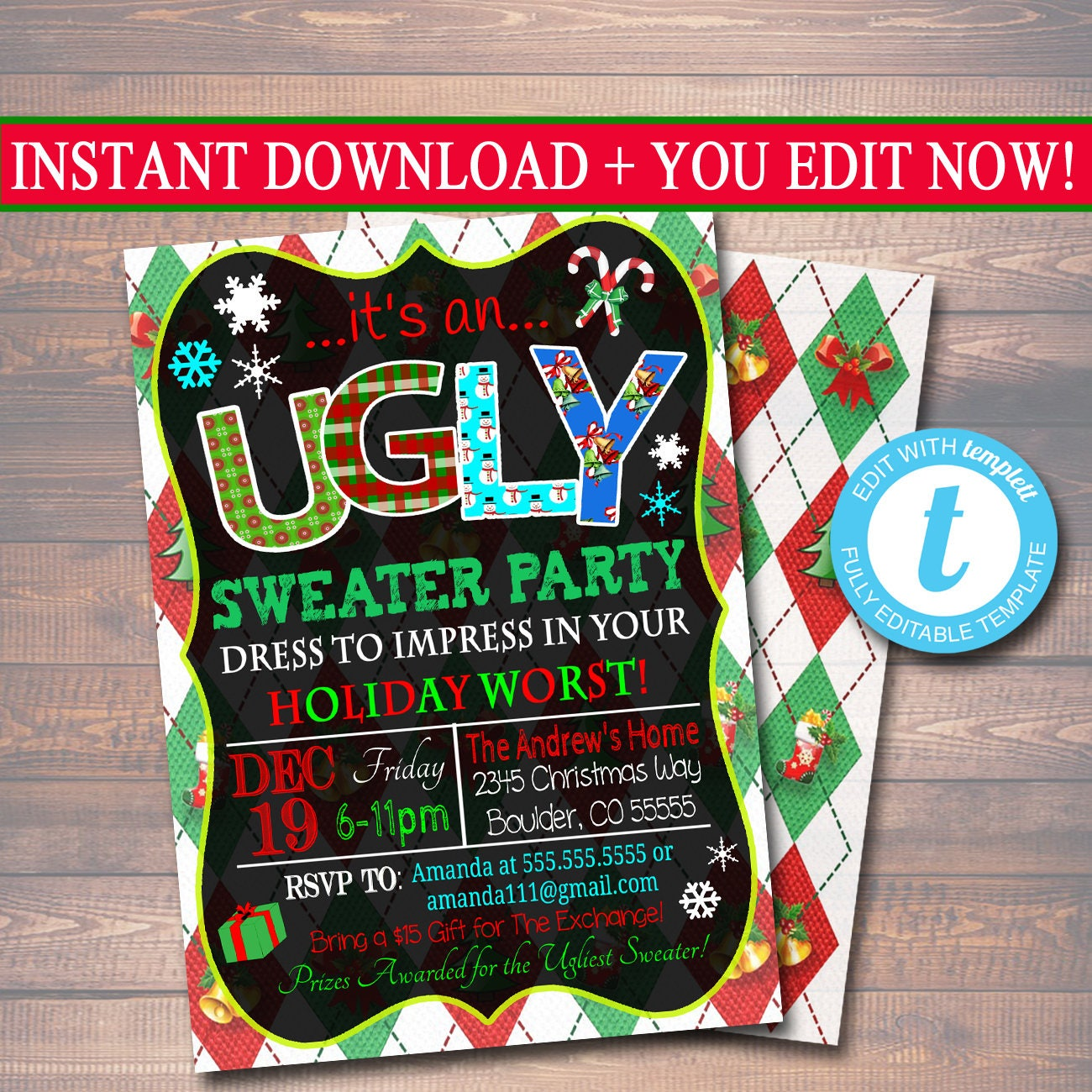 EDITABLE Ugly Sweater Party Invitation Christmas Party
