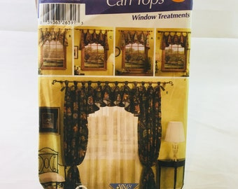 Simplicity 5696 Home Decorating Sewing Pattern Window Treatments / Easy! Can Tops / valances / side drapery panels / lined