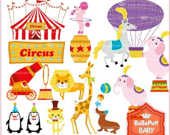 Buy 2 Get Free Circus Clip Art Set Carnival Birthday Invitations Cards Making Personal And Small Commercial Use BB 0469