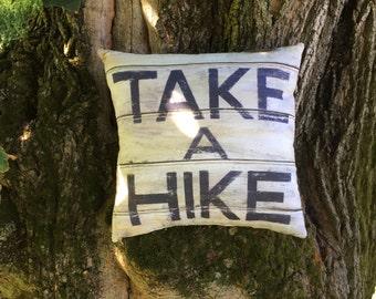 Take A Hike fun cabin pillow