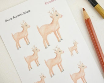 Reindeer Stickers - Planner Stickers 1 Sheet - Holiday Stickers - Christmas Stickers