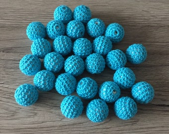 Crochet beads 20mm - TURQUOISE wood