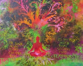"Print on Canvas ""Buddhas Mind"" 12 x 12 inch * Buddha Wall Decoration * Spiritual Art * Buddha Painting * Asia * Om * ZEN"