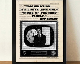 "Dictionary Page Print: -  ""Imagination, Its limits are only those of the mind itself... The Twilight Zone"" - TV print, Rod Serling quote"
