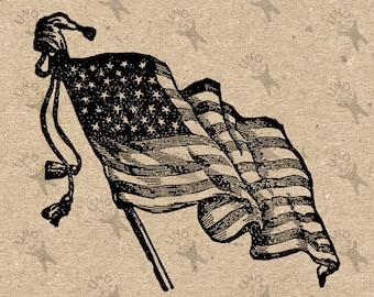 Vintage American Flag USA image Instant Download picture Digital printable clipart graphic burlap, kraft, scrapbooking, t shirts HQ 300dpi