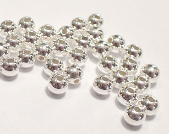 Pack of 500, 925 sterling silver seamless 4mm round bead / spacer, 1.5mm hole [our ref: pa468]