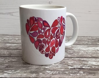 Love Mug - red heart mug - Paisely heart mug - designer ceramic mug - painted mug