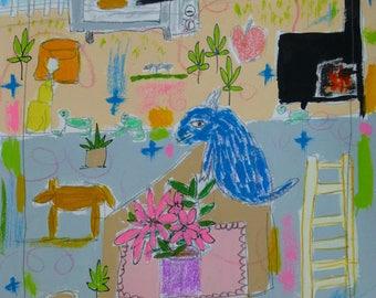 Mixed Media, Folk Art,  Painting, Original, Children's decor