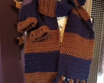 Wizard scarf/mitts/hat set - harry scarf, potter hat, fingerless gloves, house colors