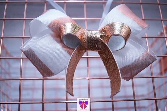 Rose gold and white stripe grosgrain  sheer leather Bow- Baby / Toddler / Girls / Kids Headband / Hairband / Hair bow / Barette / Hairclip