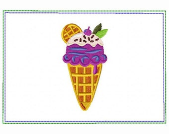Ice Cream Small Money Purse 09 - In The Hoop Machine Embroidery Design