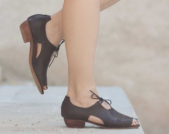 Women Leather Sandals, Heeled Sandals, Brown Leather Sandals, Oxfords, Summer Shoes, Heels,