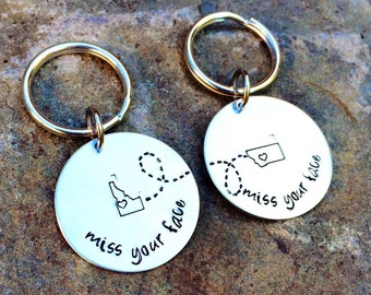 Long Distance Relationship Custom State to Stste Keychain - USA keychain, Personalized, Choose Your States