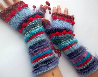 Women L 20% OFF Gloves Ready To Ship Bohemian Accessories Boho Fingerless Hand Knitted Mittens Striped Warm Wrist Warmers Winter Arm 1108