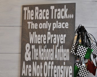Prayer at the Racetrack, Dirt Track Racing, Racing Sign, Race Track, Fathers Day Gift, Gift For Race Fan, Sports Gift
