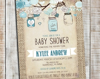 Mason jar baby shower invitation burlap and bows invite girl mason jar baby shower invitation baby boy rustic baby boy shower invitation burlap invite filmwisefo