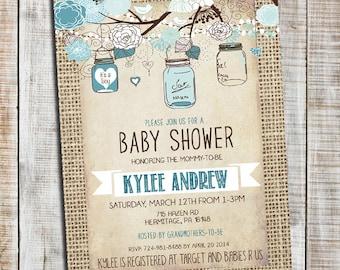 Cute Boy Baby Shower Invitation, Burlap Rustic Baby Boy Shower Invitation,  Mason Jar,