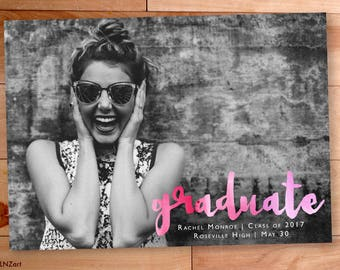 Graduation Announcement, Watercolor Script, Senior, Graduation Invitation, Photo Graduation Announcement, Printable Graduation Announcement