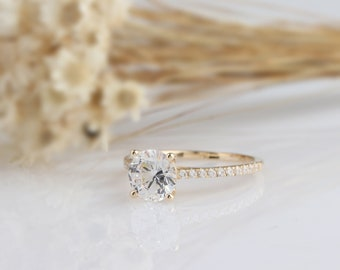 14K Solid Gold Ring/1.2CT Round Simulated Diamond Wedding Ring/ Engagement Ring/Moissanite Anniversary Ring/Promise Ring/Yellow Gold Ring