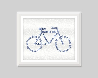 Bicycle Birth Announcement Wall Art, Bike Baby Birth Stats Print, Bicycle Nursery Art Decor, Baby Boy Bicycle Art, Bicycle Baby Gift