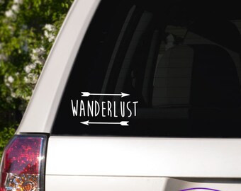 Wanderlust Typography Car Window Decal