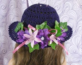 Purple Doll Hat 18 Inch Doll Purple Hat Crochet Doll Hat American Girl Doll Summer Hat Crochet Doll Hat Am Girl Purple Doll Hat AG Doll Hat