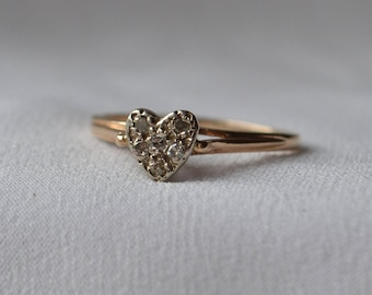 Super cute, beautifully-made, vintage 10K yellow and white gold Diamond-set heart ring