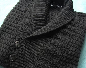 Tall Man Sweater, Men's Sweater, Men's Crocheted Sweater, Men's Wool Sweater, Black Sweater, Pullover, Husband Gift, Available in  XXLT