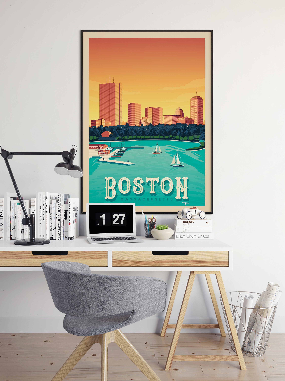 Boston Massachusetts USA Travel Poster, Boston vintage print, Boston ...