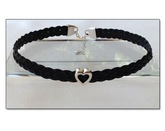 BDSM Day Collar, BDSM Collar, Submissive Collar, Discreet Day Collar, Slave Collar, Black Leather BDSM Heart Collar Choker