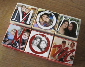 Mothers Day Personalized Gift PHoTO BLoCKS- Photo Letter Blocks- MOM Dad POP Sis- set of THREE
