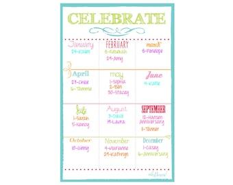 Fridge Magnet, Fridge Calendar, Dry Erase Fridge Calendar