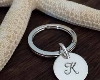 Sterling Silver Monogrammed Key Ring / Initial Key Ring / Bridesmaid Gift Idea / New Home Realtor Closing Gift / Sweet  16 /Graduation Gift
