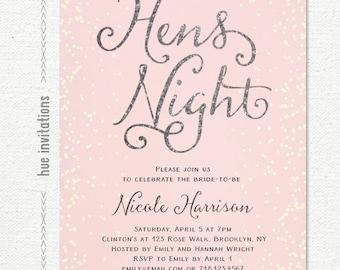 pink and silver glitter hens night bachelorette party invitation, digital printable invite, jpg or pdf 302