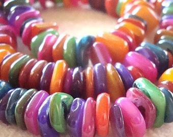 Shell Pearl Beads 10 x 3mm Lustrous Smooth Multi Mix Rondelle Chips - 8 inch Strand