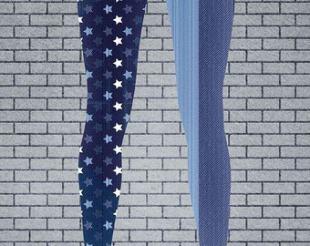 Women's Americana Denim USA Flag Print Leggings