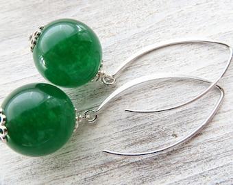 Green emerald jade earrings, 925 sterling silver earrings, stone earrings, drop earrings, dangle earrings, italian earrings, modern jewelry