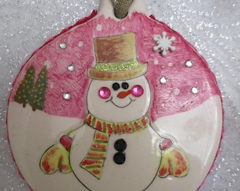 Snowman personalized hand painted Happy Holidays Christmas ornament
